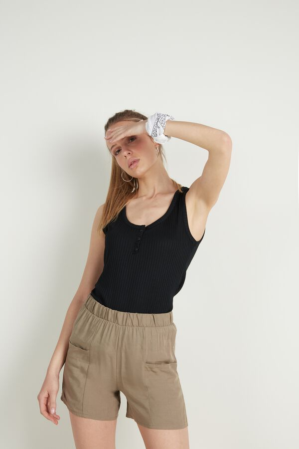 Henley Tank Top in Ribbed Viscose