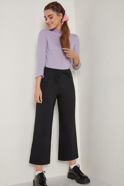 Pantaloni deasupra gleznei cu cordon de pânză