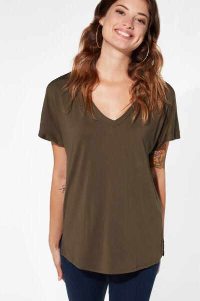 T-shirt Col en V Doux
