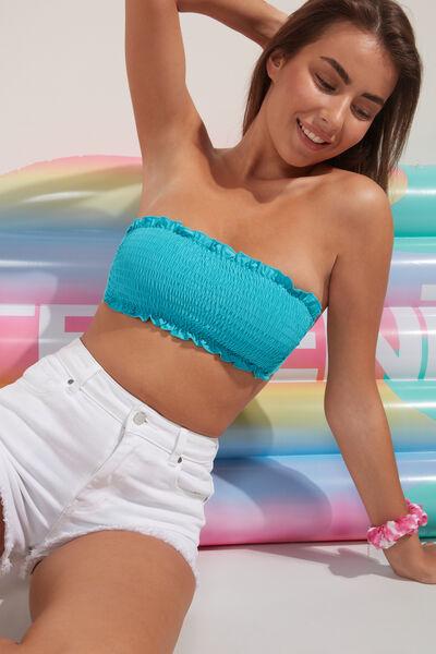 Plain Colour Smocked Bandeau Bikini Topin Recycled Microfibre