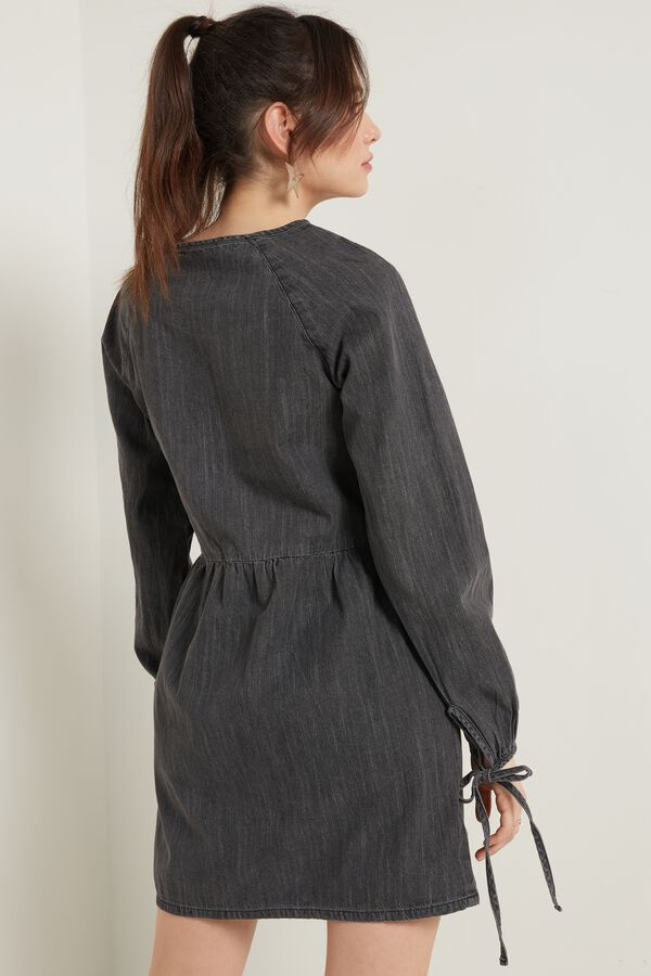 Long-Sleeve Canvas Dress with Strings