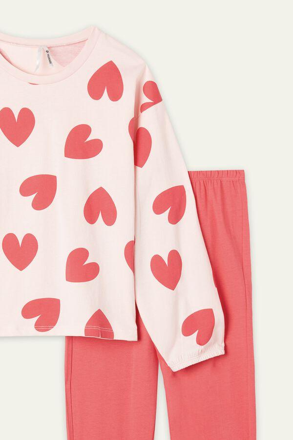Girls' Heart Print Long Cotton Pyjamas
