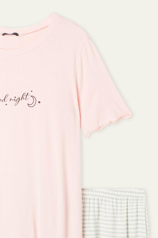 "Short Lettuce Trim ""Goodnight"" Print Pajamas"