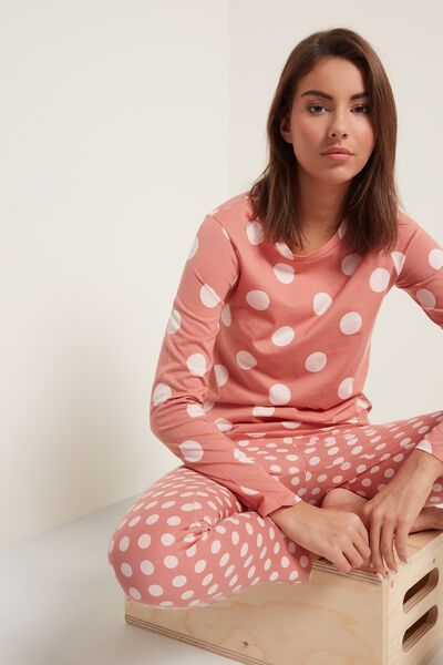 Long Cotton Polka Dot Print Pajamas