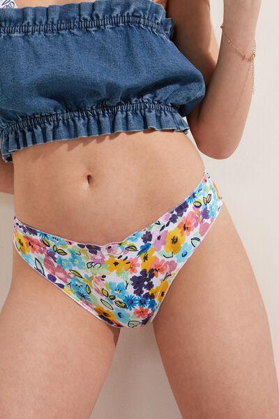 Slip Bikini Brazilian Color Flowers Detaliu Ondulat