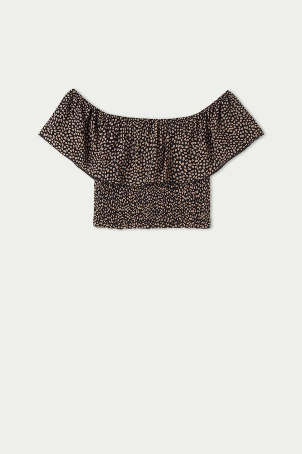 Short Smocked Top with Ruffle