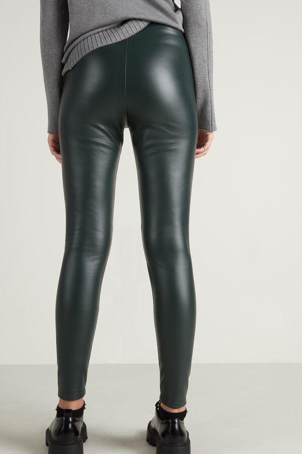 Thermo-Leggings aus Lederimitat