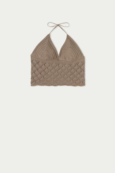 Top Curto Triângulo em Crochet