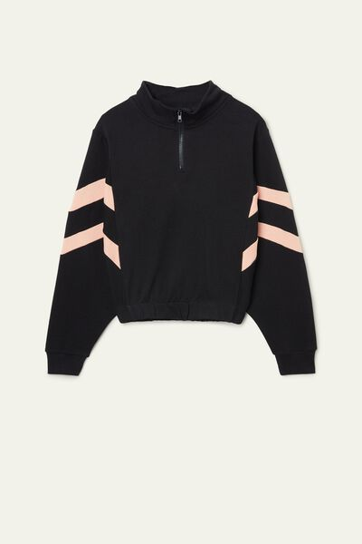 Cropped Long-Sleeve Two-Tone Band Sweatshirt