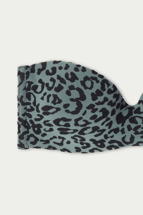 3D Leopard Print Padded Bandeau Bikini Top