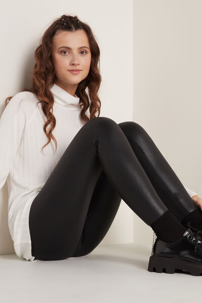 Coated-Effect Thermal Leggings with Micro Snake Print