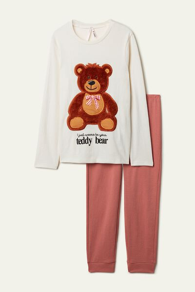 Pyjama Long en Coton Épais avec Patch Ours