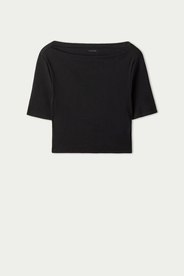 Short-Sleeve Ribbed Cotton Short Top