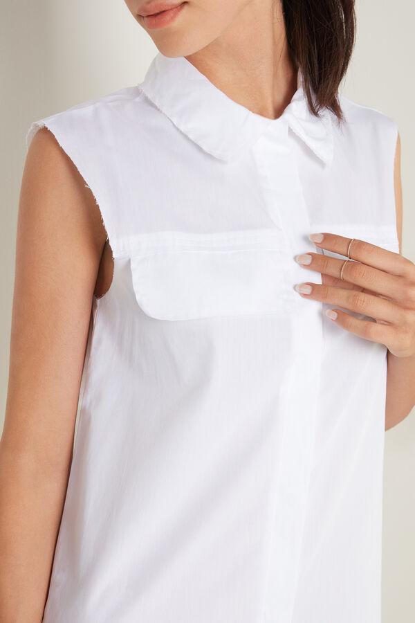 Bavlněné Košilové Šaty bez Rukávů s Knoflíky