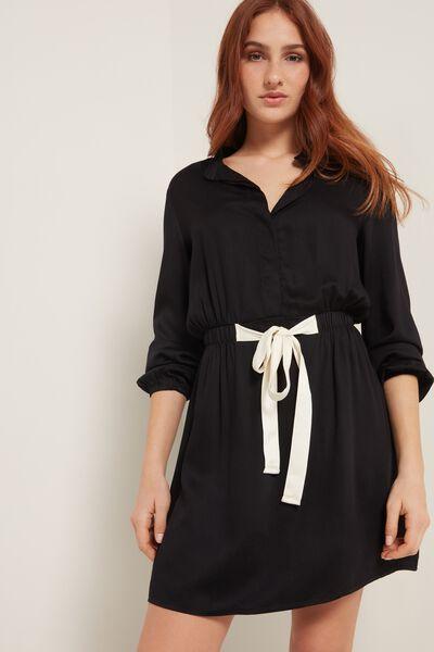 Sukienka z Płótna Wiskozowego, z Długim Rękawem i Wiązaniem
