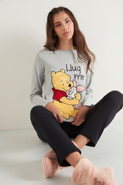 Long Heavy Cotton Pyjamas with Winnie the Pooh Patch