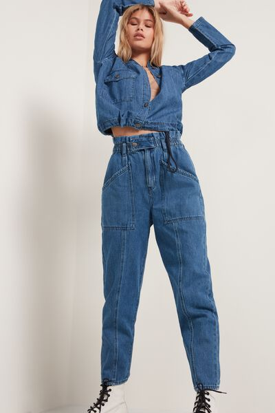 Baggy Print Jeans with Large Pockets