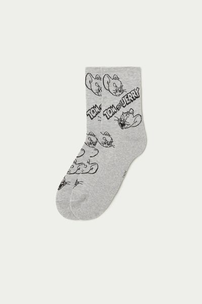 Grey Cotton Tom and Jerry Print Sport Ankle Socks