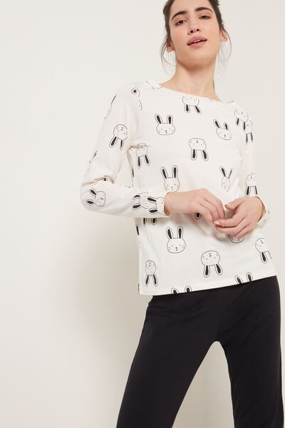 Long Cotton Bunny Print Pajamas