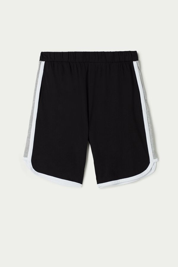 Cotton Jersey Shorts with Side Stripes