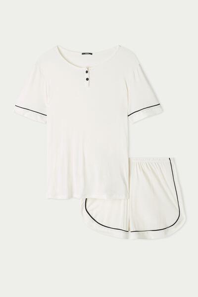 Short Viscose Pyjamas with Piping