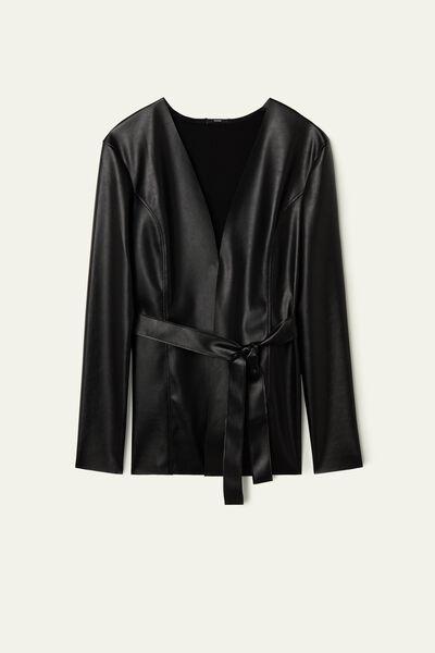 Jacke aus Lederimitat mit Schärpe