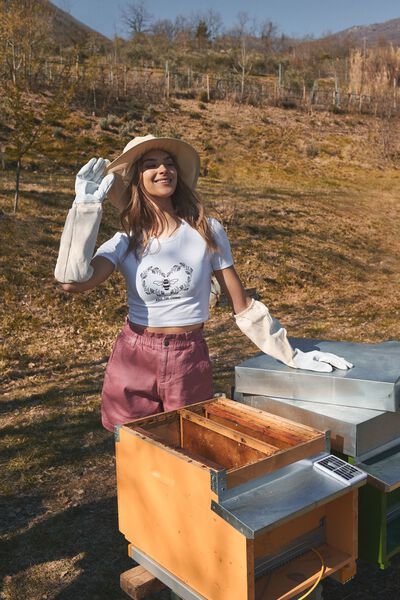 Bee Print Organic Cotton Short T-Shirt