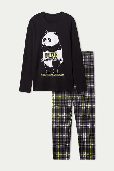 Panda Print Long Cotton Pyjamas