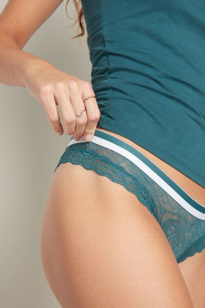 Lace Brazilian Briefs with Elasticated Waist