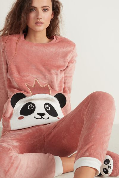 Panda Print Long Fleece Pyjamas