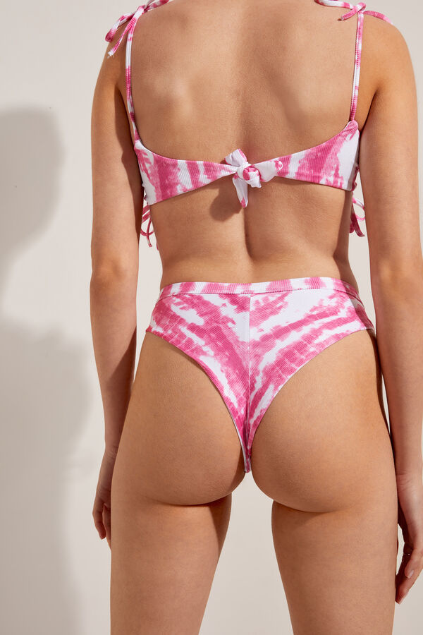 Rib Tie-Dye High-Waisted Brazilian Bikini Bottoms