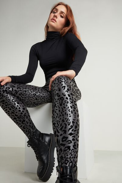 Animal Print Faux Leather Thermal Leggings