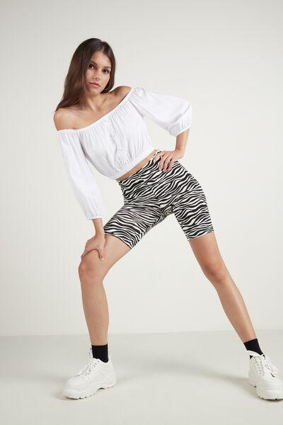 Printed Cotton Biker Shorts