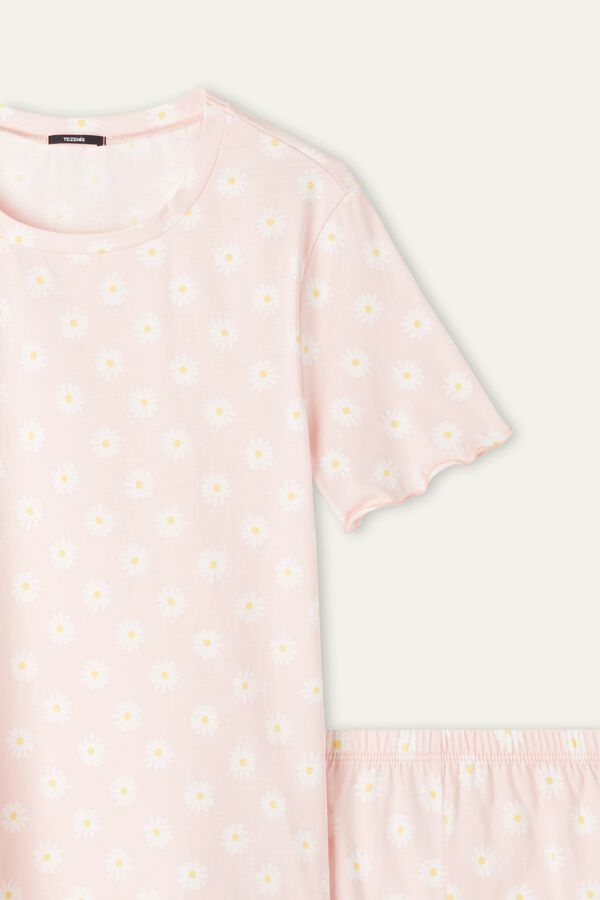 Krátke Bavlnené Pyžamo s Potlačou Sedmokrások a Vlnitým Lemom
