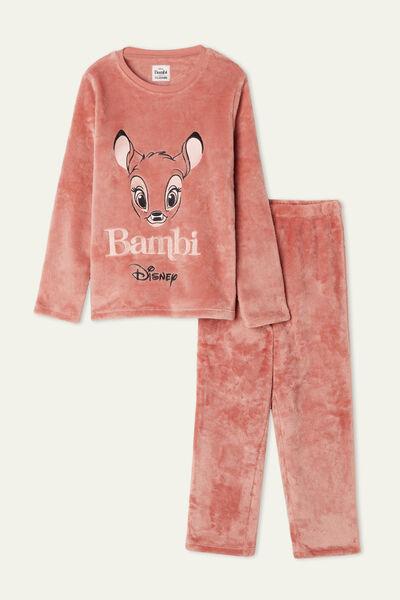 Girls' Long Fleece Pyjamas with Disney Bambi Print