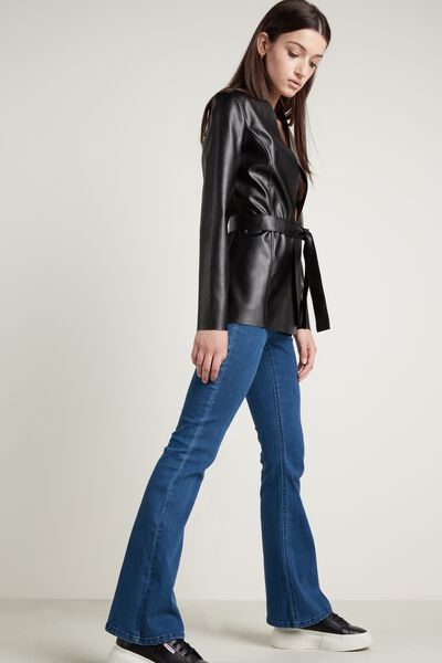 Faux Leather Jacket with Sash