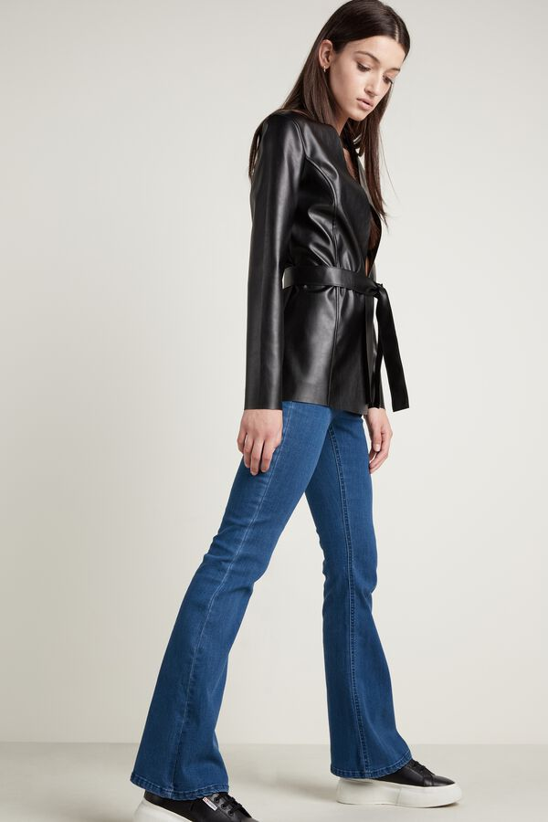 Faux Leather Jacket with Belt