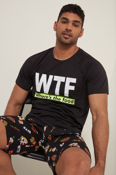 Men's Short Cotton Pyjamas with WTF Print