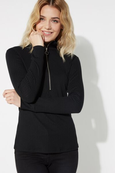 Ribbed Long Sleeve Top with Zipper