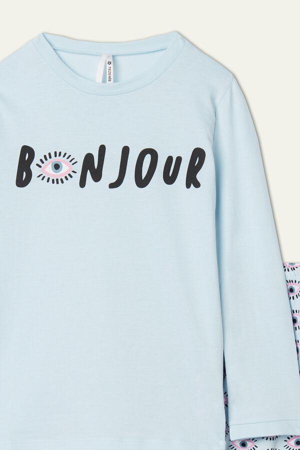 Little Girl's Long Cotton Bonjour Print Pajamas