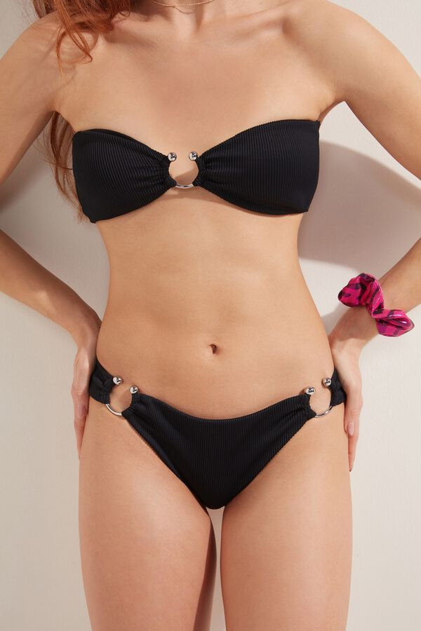 Ribbed Brazilian Bikini Bottoms with Pierced Detail