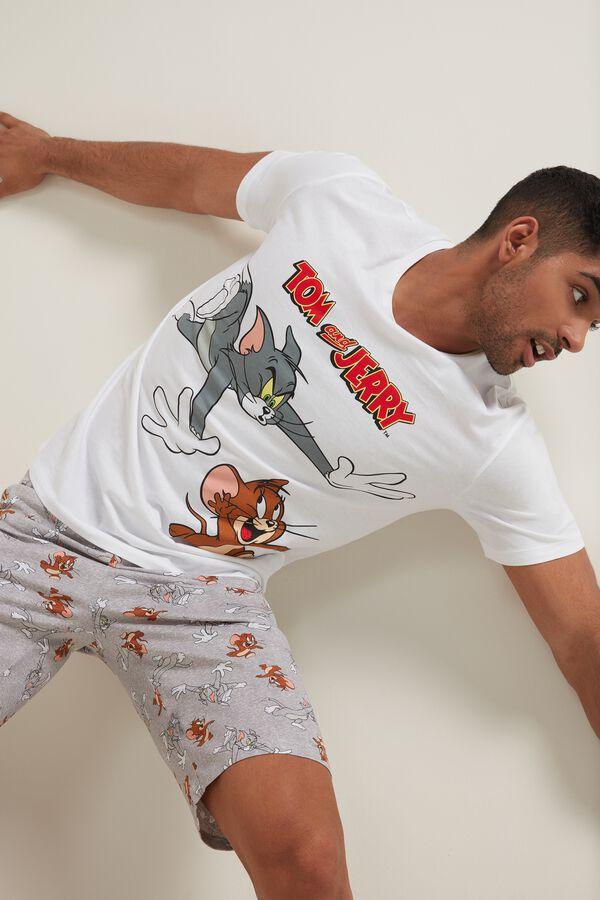 Krótka Piżama Męska z Nadrukiem Tom and Jerry Run